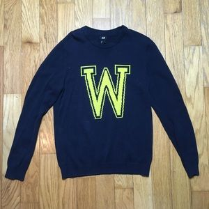 H&M Blue W Letterman Style Pullover Knit Sweater
